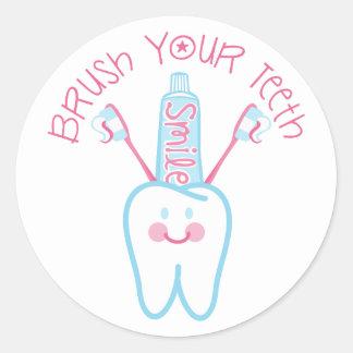Brush Your Teeth Classic Round Sticker