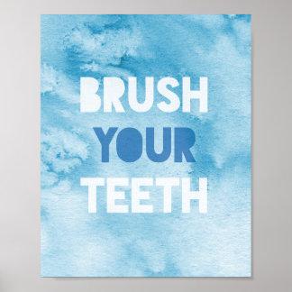 """brush your teeth"" watercolour print"