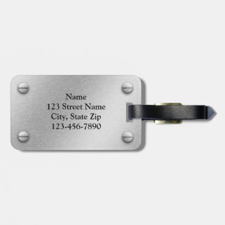 Brushed Aluminum and Screws Effect Luggage Tag