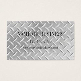 Brushed Aluminum Diamond Plate Metal Business Card
