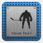 Brushed Aluminum look Hockey Square Sticker