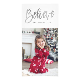 Brushed Believe Silver Holiday Photo Card