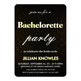"Brushed Black Metal Confetti Gold Red Bachelorette 5"" X 7"" Invitation Card"