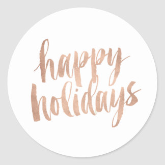 Brushed Copper Happy Holidays Closure Sticker