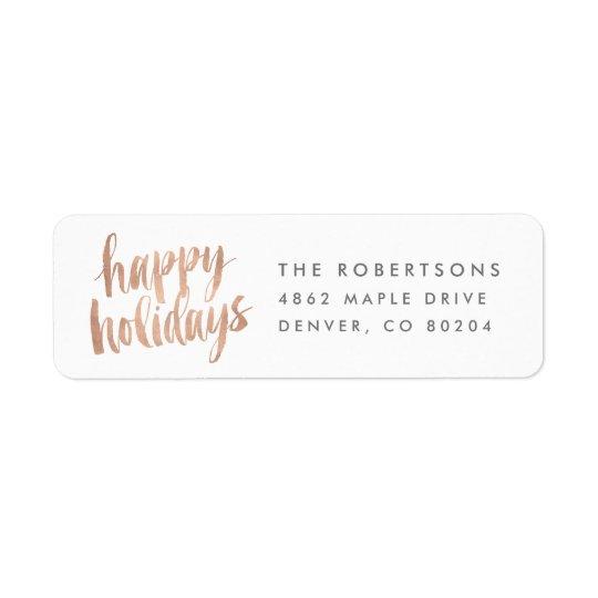 Brushed Copper Happy Holidays Return Address Label