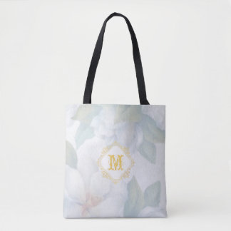 Brushed Floral Monogrammed Wedding Favour Tote Bag