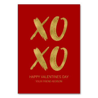 Brushed Gold Foil XOXO Classroom Valentine Card