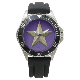 Brushed gold tone star on purple texture watch