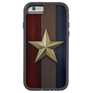 Brushed gold tone star on r/w/b wood planks tough xtreme iPhone 6 case