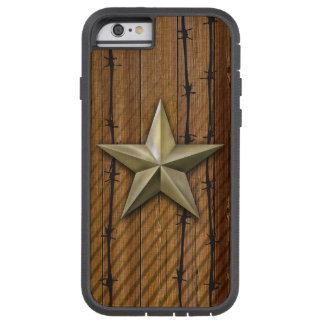 Brushed gold tone star on wood plank tough xtreme iPhone 6 case