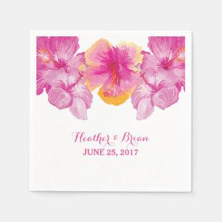 Brushed Hibiscus Floral Paper Napkins