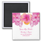 Brushed Hibiscus Floral Save the Date Magnet