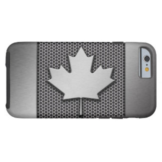 Brushed Metal Canadian Flag Tough iPhone 6 Case