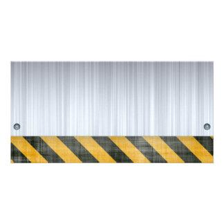 Brushed Metal Hazard Construction Layout Personalized Photo Card