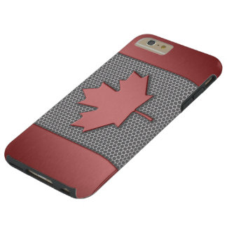 Brushed Metal Look Canadian Flag Tough iPhone 6 Plus Case