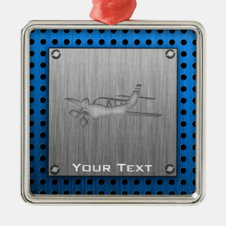 Brushed Metal-look Plane Silver-Colored Square Ornament