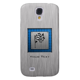 Brushed metal look Racing Flag Samsung Galaxy S4 Cover