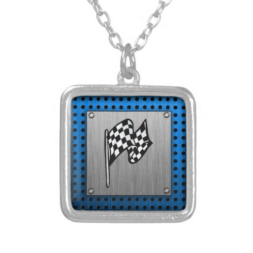 Brushed metal look Racing Flag Personalized Necklace