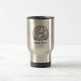 Brushed Metal-look Sailing Travel Mug