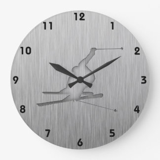 Brushed Metal-look Snow Skiing Large Clock