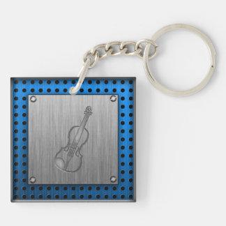 Brushed metal-look Violin Keychain