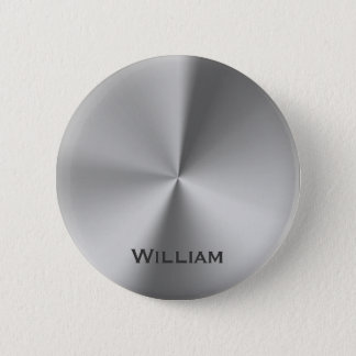 Brushed metal personalized name 2 inch round button
