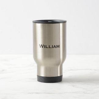 Brushed metal personalized name travel mug