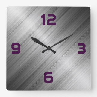 Brushed Metal Texture Square Wall Clock