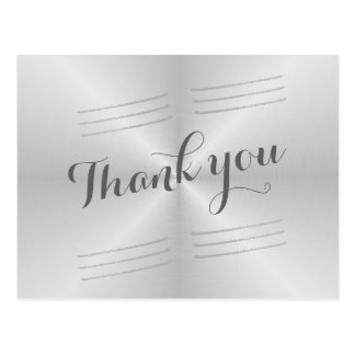 Brushed Metal Wedding Thank you Postcard