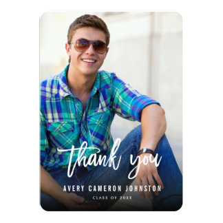 "Brushed Script Graduation Photo Thank You Card 5"" X 7"" Invitation Card"