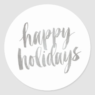 Brushed Silver Happy Holidays Closure Sticker
