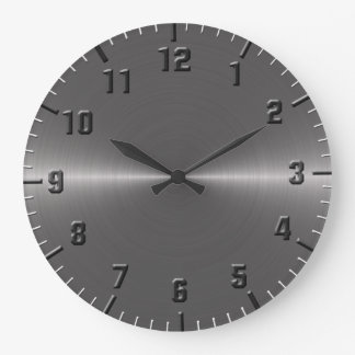 Brushed silver metallic large clock