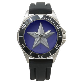 Brushed silver tone star on blue texture watch