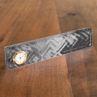 Brushed Steel Desk Nameplate with Clock