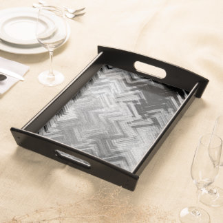 Brushed Steel Large Serving Tray