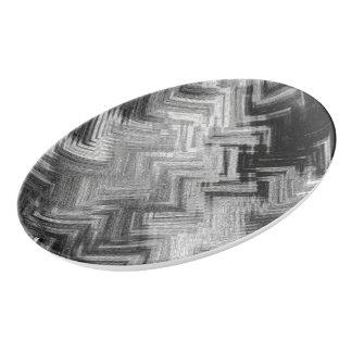 Brushed Steel Porcelain Coupe Platter
