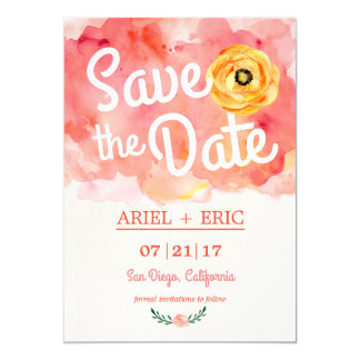 Brushed Watercolor Save the Date invitation