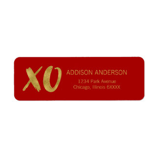 Brushed XOXO Gold Foil Valentine Address Label