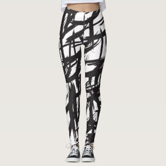 Brushstroke, black and white, abstract pattern leggings