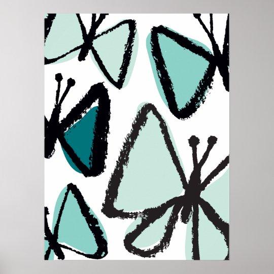Brushstroke Butterflies Print
