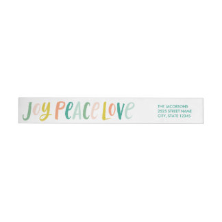 Brushstroke Joy Peace Love Wraparound Labels