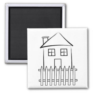 Brushstroke White Picket Fence House Magnet