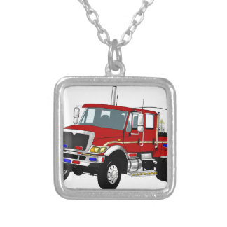 BrushTruckRed Silver Plated Necklace