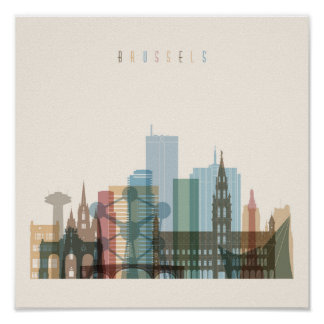 Brussels, Belgium | City Skyline Poster