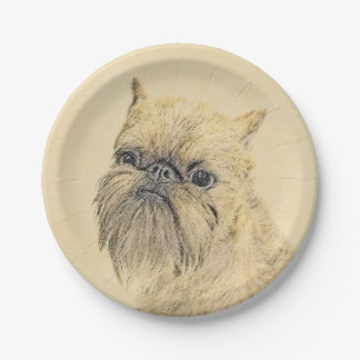 Brussels Griffon 7 Inch Paper Plate