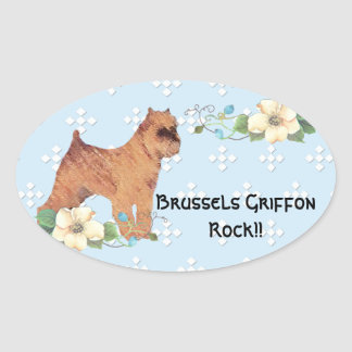 Brussels Griffon ~ Blue w/ White Diamond Design Oval Sticker