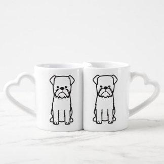 Brussels Griffon Dog Breed Cartoon Coffee Mug Set