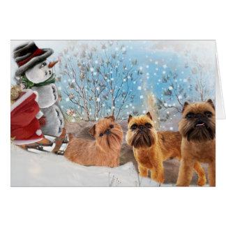 Brussels Griffon Furry & Bright Christmas Card