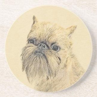 Brussels Griffon Painting - Cute Original Dog Art Coaster