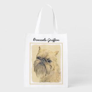 Brussels Griffon Painting - Cute Original Dog Art Reusable Grocery Bag